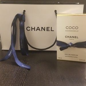 Authentic CHANEL shopping bag, ribbon, parfum box